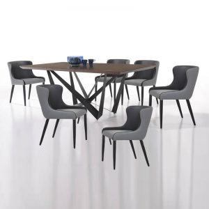 IZABELA T2000+A428+DCP010 – 2M Solid Rubber Wood 6 Seater Dining Set