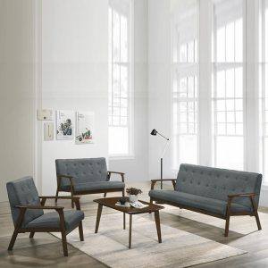 BILLY solid rubberwood frame 123 seater sofa set with free coffee table