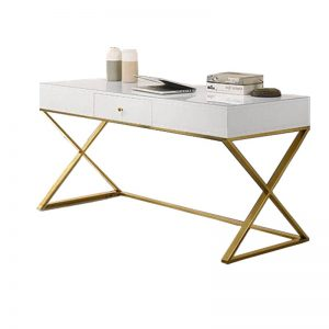 IZABELA SD806 – 1.6M Tempered Glass With Gold Stainless Steel Leg Study Desk