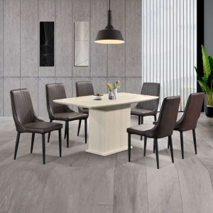 GOODNITE T408+C18  – 1.5M Artificial Marble 6 Seater Dining Set