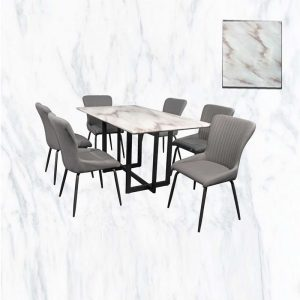 GOODNITE T423+L1804+C804 – 1.6M Artifical Marble With Metal Leg 6 Seater Dining Set