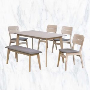 GOODNITE T615+C612+B615 – 1.4M Solid Wood 4 Seater With Bench Chair Dining Set