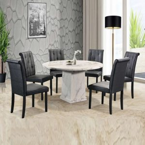 GOODNITE T333+C607 – 1.2M Round Artificial Marble 6 Seater Dining Set