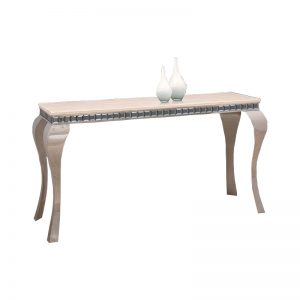 IZABELA IOI8076 – Marble Top With Side Glass Stainless Steel Leg Console Table