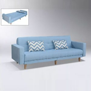 WLS SB308 BLUE – Blue Linen Fabric With Solid Rubberwood Leg Sofa Bed