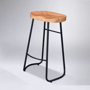 WLS F003- Solid Wood Seat With Black Painted Bar Stool