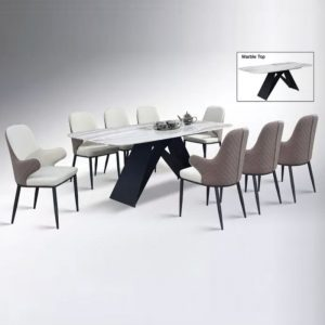 WLS K1+DC9611 – 8 Seater Marble Top Table With PU Leather Cushion Seat Dining Set