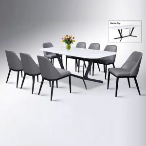 WLS K4+DC202 – 6 Seater Marble Top Table With PU Leather Cushion Seat Dining Set