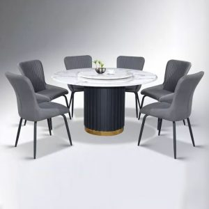 WLS K6+DC8030 – 6 Seater Marble Top Table With Upholstery Fabric Seat Dining Set