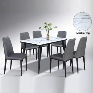 WLS C17+DC202 – 6 Seater Artificial Marble Top Table With PU Cushion Seat Dining Set