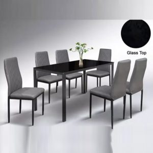 WLS DTUC13+DC169 – 6 Seater Glass Top Table With PU Cushion Seat Dining Set