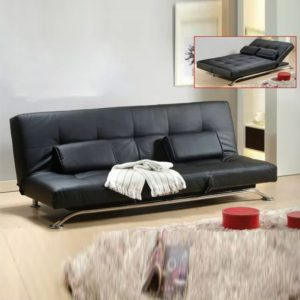 WLS SB9215 BLACK – Black With Steel Base Structure Sofa Bed
