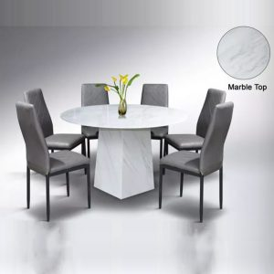 WLS PR02+DC169 – 6 Seater Artificial Marble Top Table With Cushion Seat Dining Set
