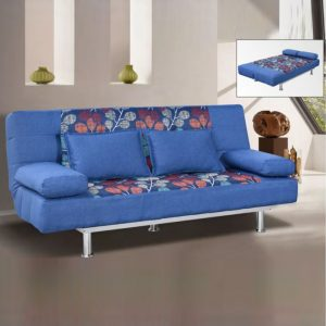 WLS SB206 BLUE – Blue With Steel Base Structure Sofa Bed