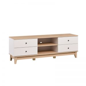 GUB RITZ 126 – 1.6M Natural + White Colour Particle Board With Solid Wood Leg TV Cabinet