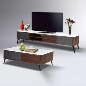 WLS TV1908+CT1908 – MDF Veneer Top With Steel Leg Living Room Set
