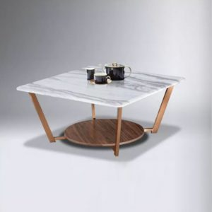 WLS C09 – Artificial Marble Top With Metal Leg Coffee Table