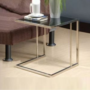 WLS LC886 – Glass Top With Stainless Steel Frame Side Table
