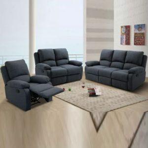 WLS RS502 – 1+2+3 Grey Recliner System Sofa Set