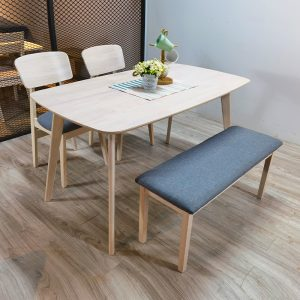 ZORO – Natural White Solid Wood 1+2+Bench Chair Dining Set