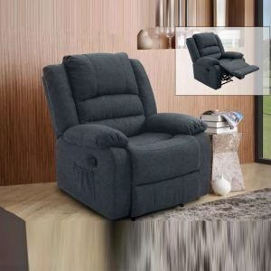 WLS RC608 GREY – 1 Seater Grey Fabric With Recliner System Sofa