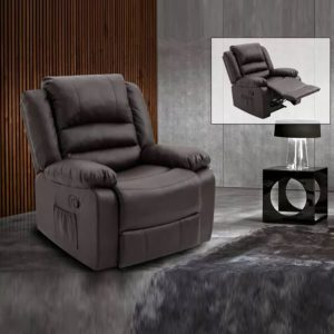 WLS RC608 BROWN PU – 1 Seater Brown PU With Recliner System Sofa