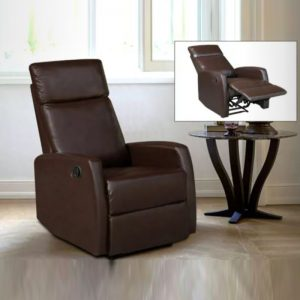 WLS RC503 BROWN PU – 1 Seater Brown PU With Recliner System Sofa