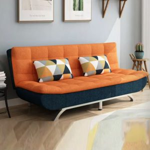 WLS SB616 ORANGE – Orange Linen Fabric Sofa Bed (FOC 2 Pillows)