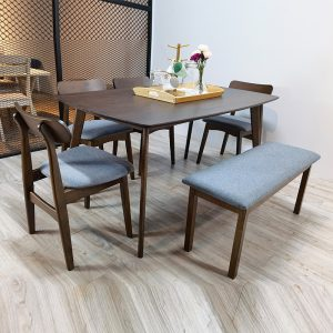 TENZA – Walnut Solid Wood 1+4+Bench Chair Dining Set