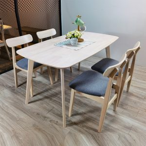 TENZA – Natural White Solid Wood 1+4 Seater Chair Dining Set