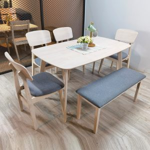 ZORO – Natural White Solid Wood 1+4+Bench Chair Dining Set
