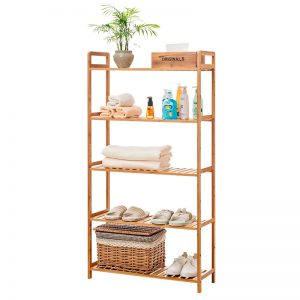 568 solid bamboo 5 tier storage rack