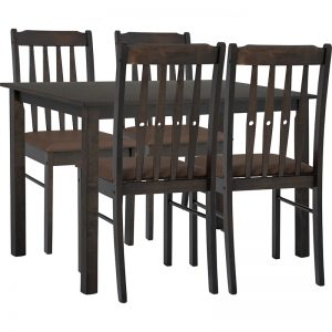 Cremini dining set 1+4 –  Dark Chestnut colour, Mocha colour Vinyl cushion seat